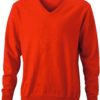 Men's V-Neck Pullover James & Nicholson - dark orange