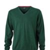 Men's V-Neck Pullover James & Nicholson - forest green