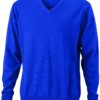 Men's V-Neck Pullover James & Nicholson - royal