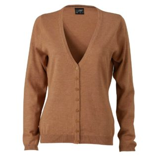 Ladies' V-Neck Cardigan James & Nicholson - camel