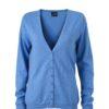 Ladies' V-Neck Cardigan James & Nicholson - glacier blue