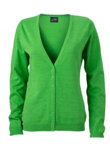Ladies' V-Neck Cardigan James & Nicholson - green