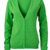 Ladies' V-Neck Cardigan James & Nicholson - green