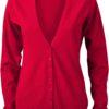 Ladies' V-Neck Cardigan James & Nicholson - red