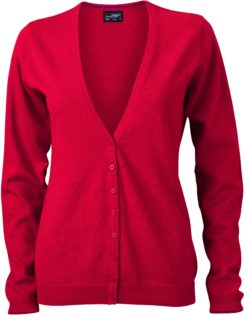 Ladies' V-Neck Cardigan James & Nicholson - red
