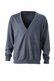 Ladies' V-Neck Cardigan James & Nicholson - anthracite melange