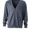 Men's V-Neck Cardigan James & Nicholson - anthracite melange