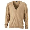 Men's V-Neck Cardigan James & Nicholson - camel