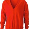 Men's V-Neck Cardigan James & Nicholson - dark orange