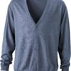 Men's V-Neck Cardigan James & Nicholson - grey heather