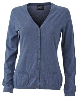 Ladies Cardigan James & Nicholson JN667 - denim melange