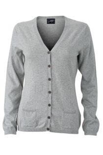 Ladies' Cardigan James & Nicholson - light grey melange