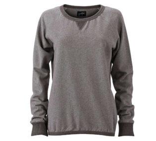 Ladies Basic Raglan Sweat James & Nicholson JN991 - grey melange black melange