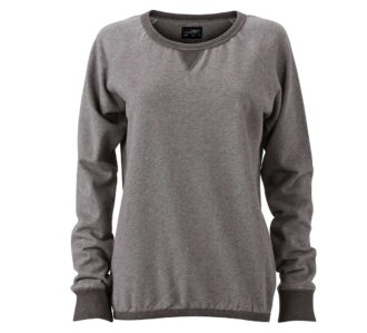 Ladies Basic Raglan Sweat James & Nicholson JN991 - grey melange black melange