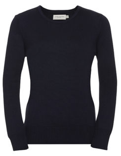 Ladies' Crew Neck Knitted Pullover Russell - French Navy