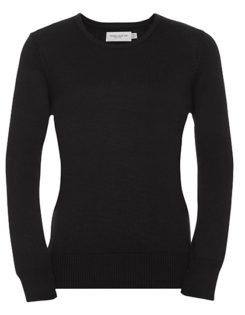 Ladies' Crew Neck Knitted Pullover Russell - black
