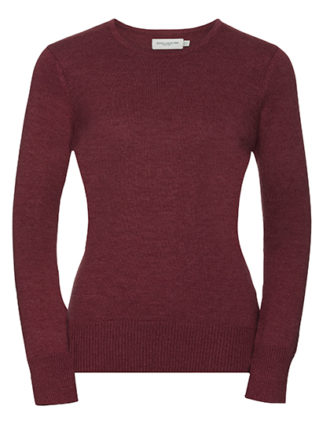 Ladies' Crew Neck Knitted Pullover Russell - cranberry