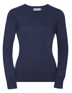 Ladies' Crew Neck Knitted Pullover Russell - denim