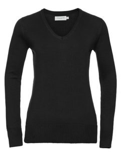 Ladies' V-Neck Knitted Pullover Russell - black