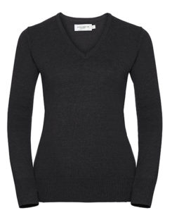 Ladies' V-Neck Knitted Pullover Russell - charcoal