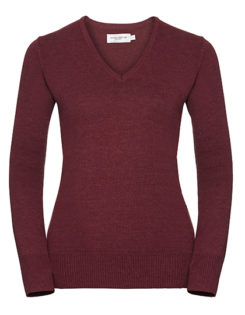 Ladies' V-Neck Knitted Pullover Russell - cranberry