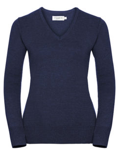 Ladies' V-Neck Knitted Pullover Russell - denim