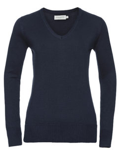 Ladies' V-Neck Knitted Pullover Russell - french navy