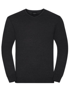 Men's V-Neck Knitted Pullover Russell - charcoal