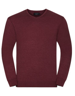 Men's V-Neck Knitted Pullover Russell - cranberry