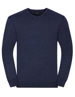 Men's V-Neck Knitted Pullover Russell - denim
