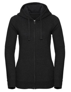Ladies' Authentic Melange Zipped Hood Sweat Russell - charcoal melange