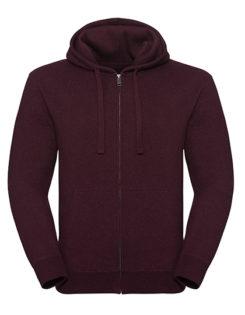 Men's Authentic Melange Zipped Hood Sweat Russell - burgundy melange