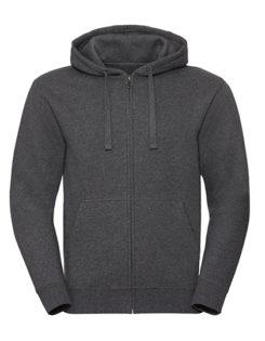 Men's Authentic Melange Zipped Hood Sweat Russell - carbon melange