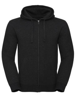 Men's Authentic Melange Zipped Hood Sweat Russell - charcoal melange