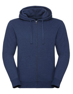 Men's Authentic Melange Zipped Hood Sweat Russell - ocean melange