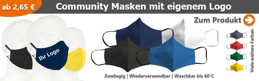 Community Masken mit eigenem Logo