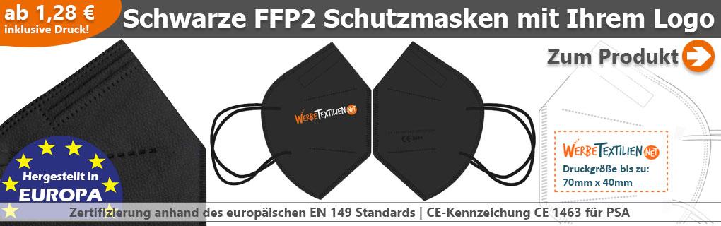 Schwarze FFP2 Schutzmasken mit eigenem Logo kaufen