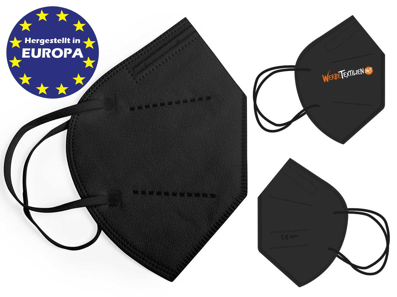 Schwarze FFP2 Masken mit Logo